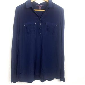 Long tall sally blue blouse button down size 14